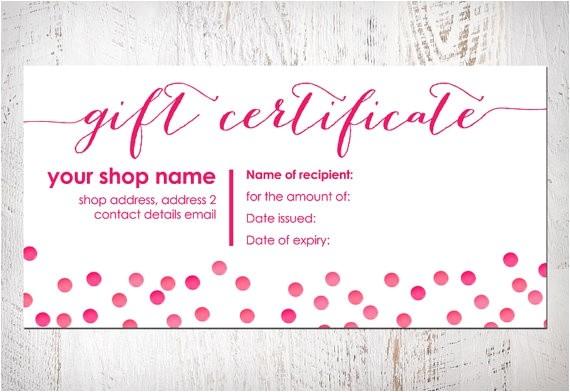 romantic gift certificate template