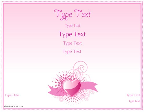 Romantic Gift Certificate Template Certificate Street Free Award Certificate Templates No