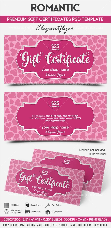 Romantic Gift Certificate Template Romantic Premium Gift Certificate Psd Template by