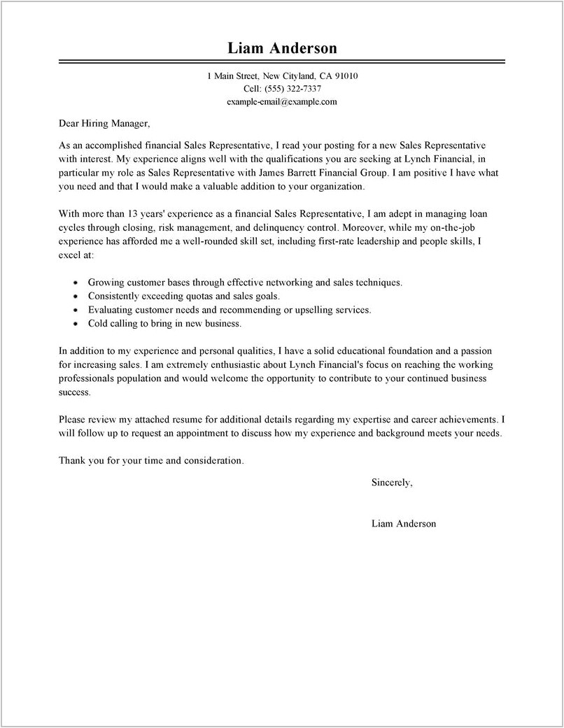 3173 free sample cover letter for sales representative