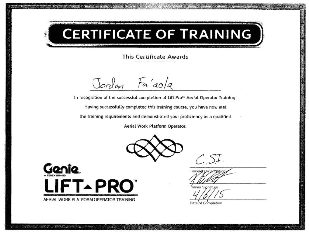 aerial lift certification card template