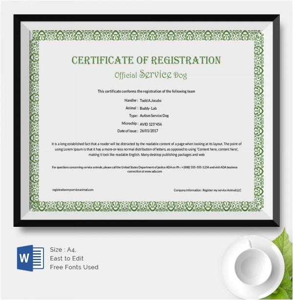 Service Dog Certificate Template 25 Certificate Templates Free Premium Templates