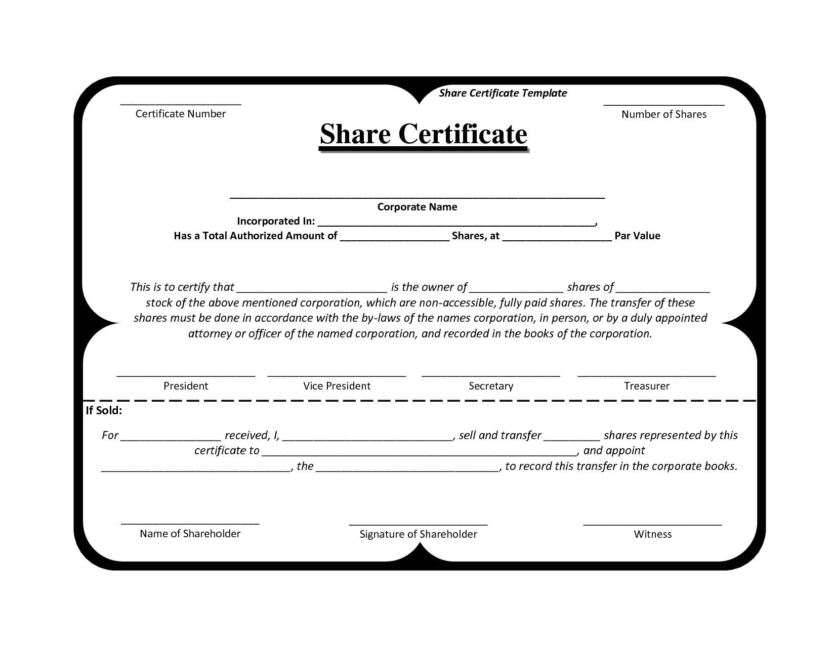 Share Certificate Template Pdf Template Share Certificate Http Webdesign14 Com