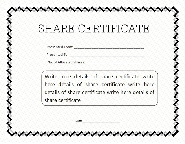 Shareholder Certificate Template 13 Share Stock Certificate Templates Excel Pdf formats