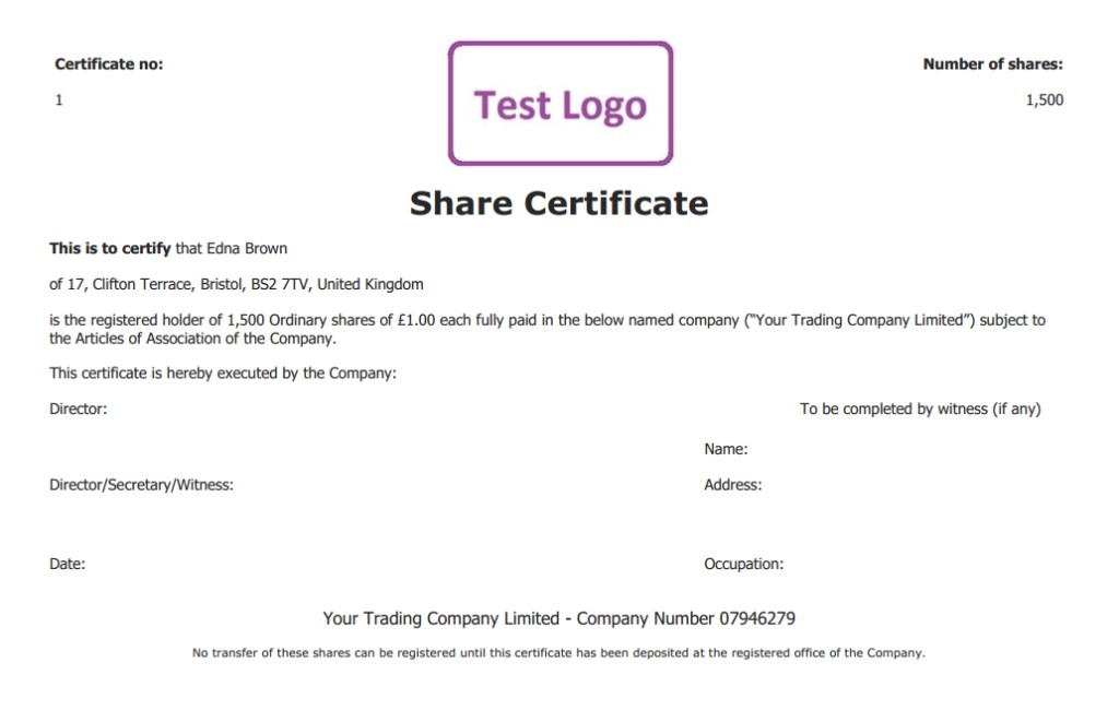perfect share certificates