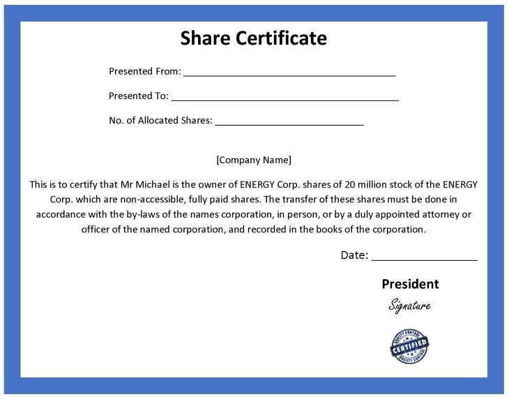 ordinary share certificate