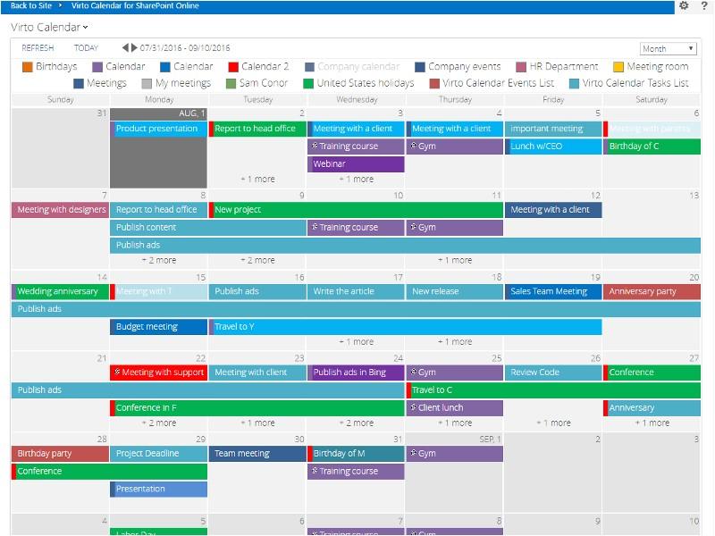 Sharepoint Calendar Templates Office 365 Calendar App for Sharepoint Online Virtosoftware