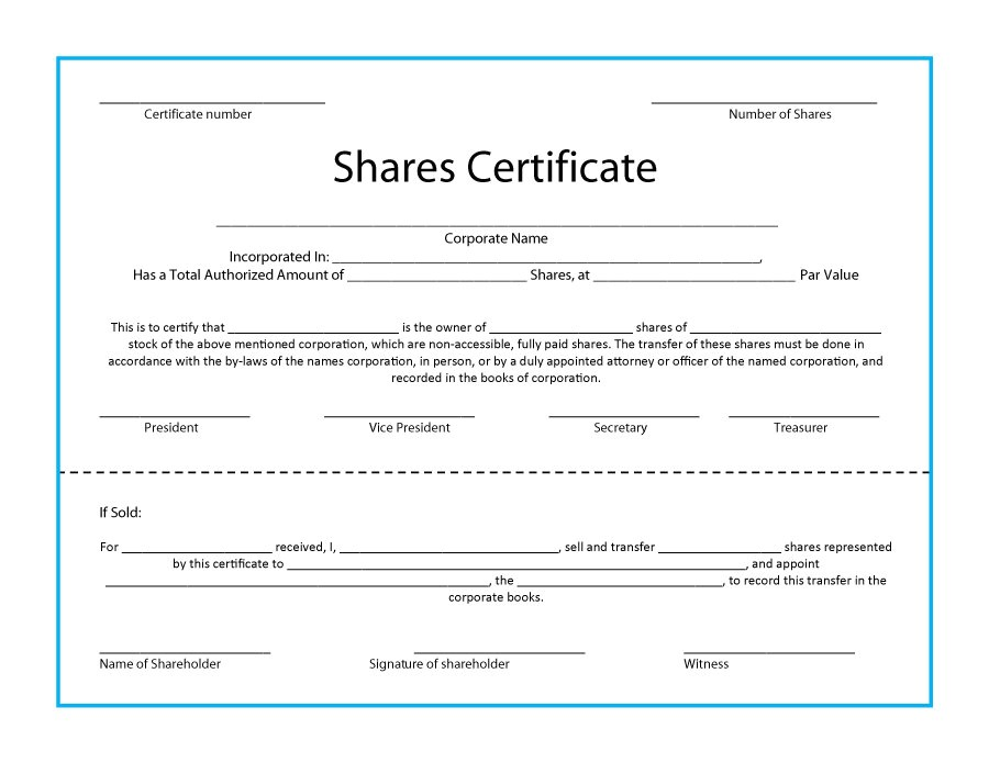 stock certificate templates