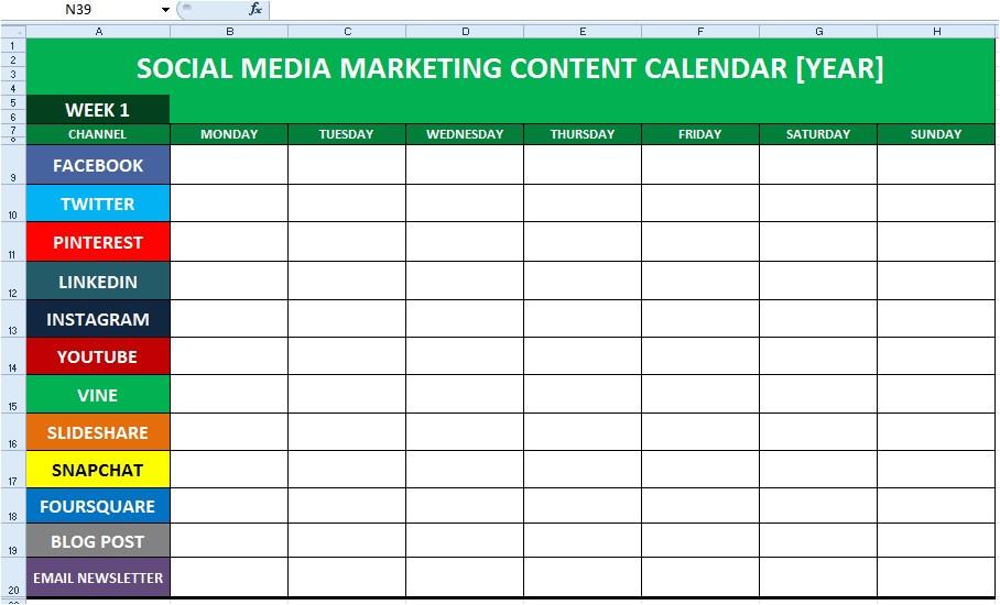 social media content calendar template excel editorial calendar download