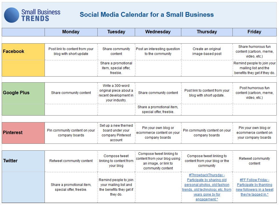 social media calendar template business