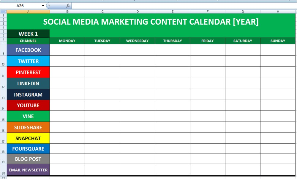 Social Media Planning Calendar Template social Media Calender Template Excel 2014 Editorial