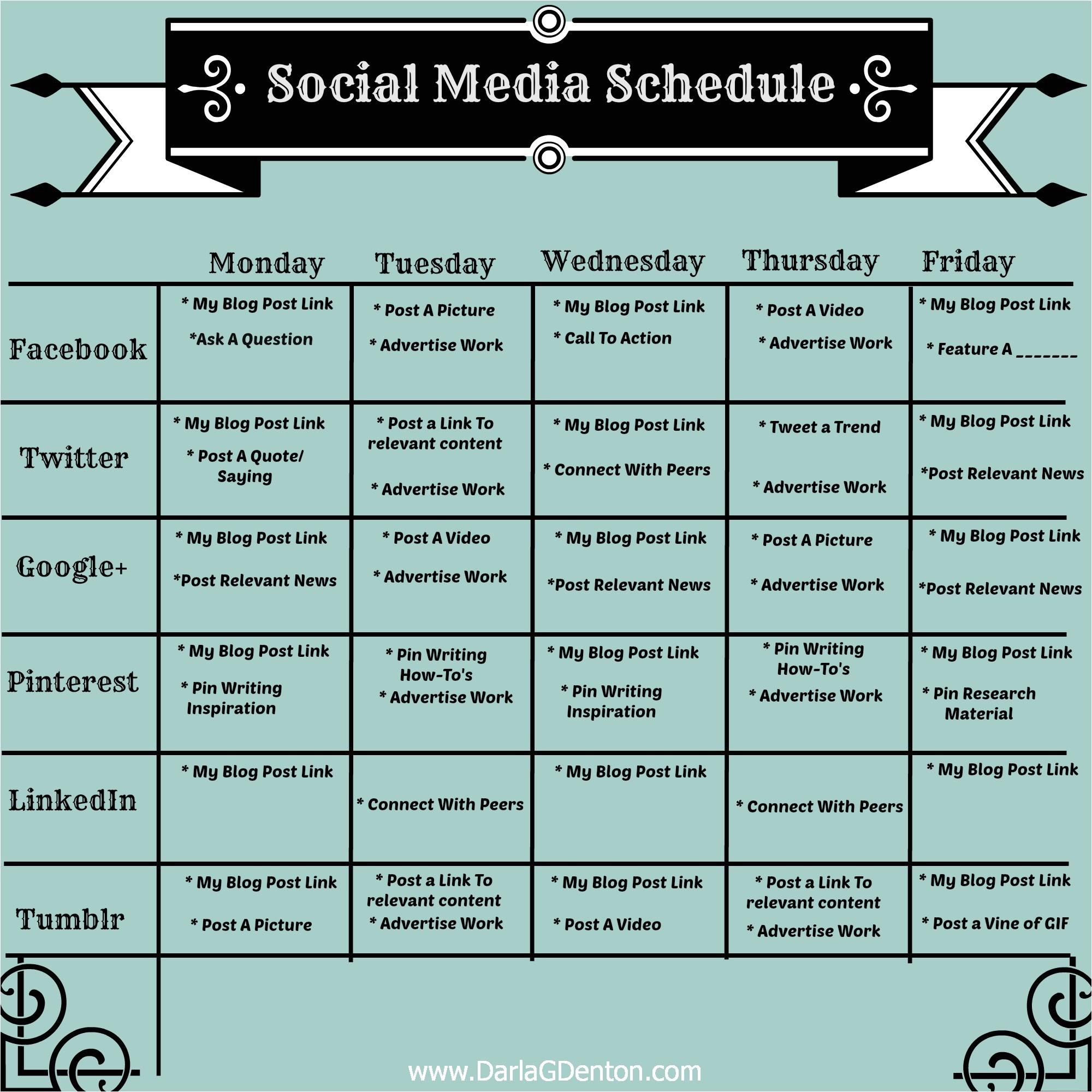 social media posting schedule template