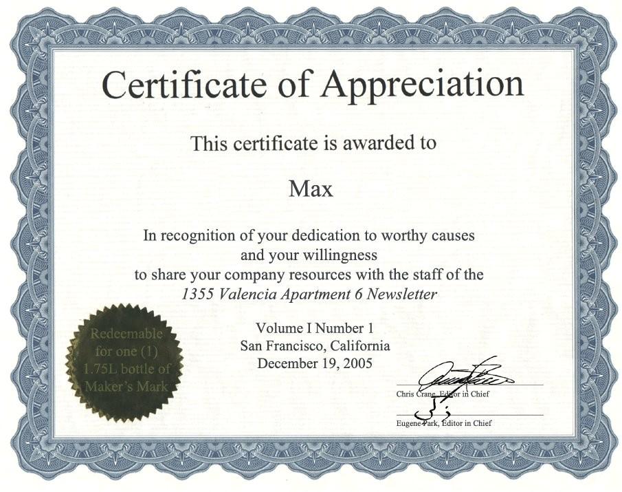 certificate of appreciation template word pdf