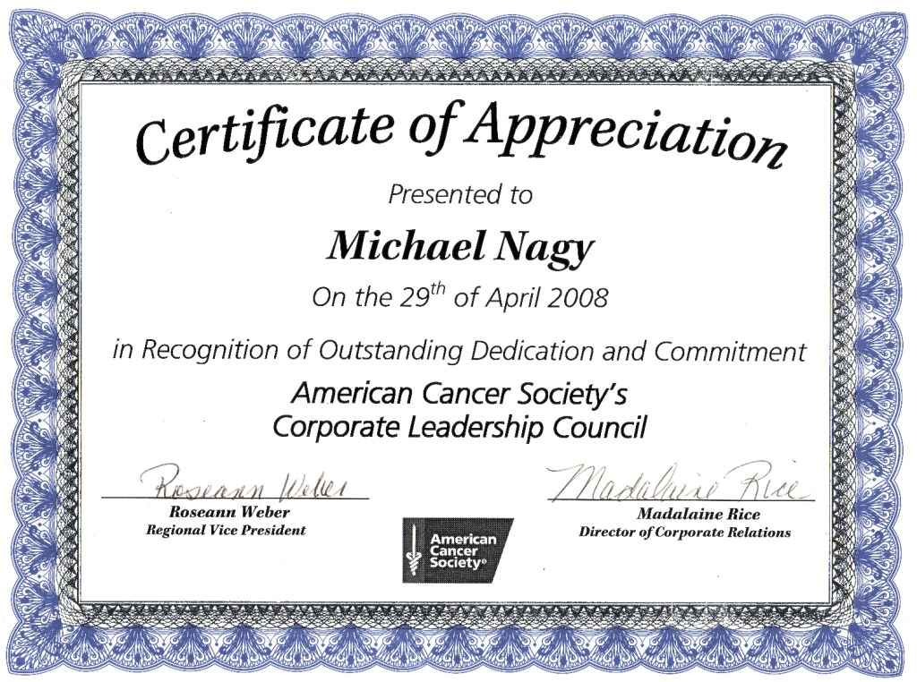 nice editable certificate of appreciation template example with blue floral border pattern and blank signature space