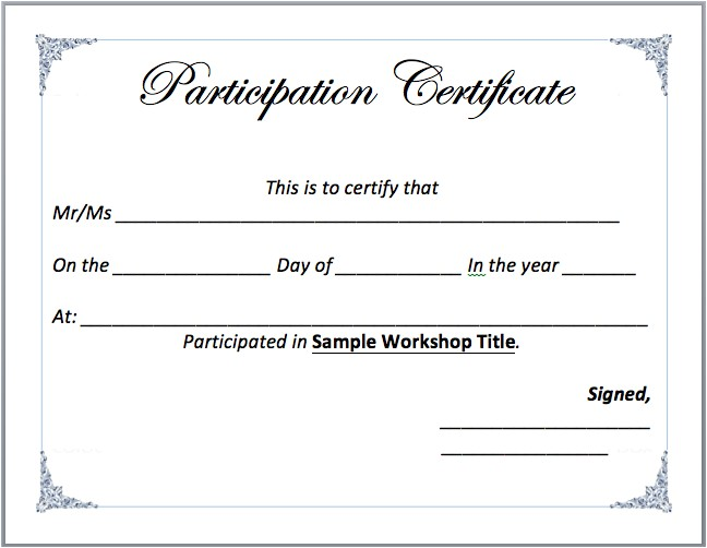 workshop participation certificate template