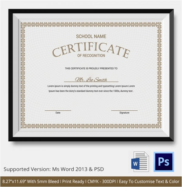 Templates for Certificates Of Recognition Certificate Of Recognition Template 15 Free Word Pdf