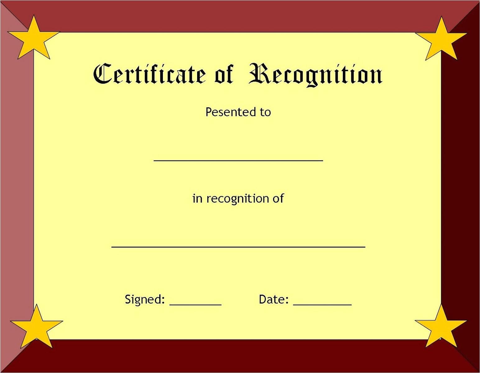 printable blank certificate template word