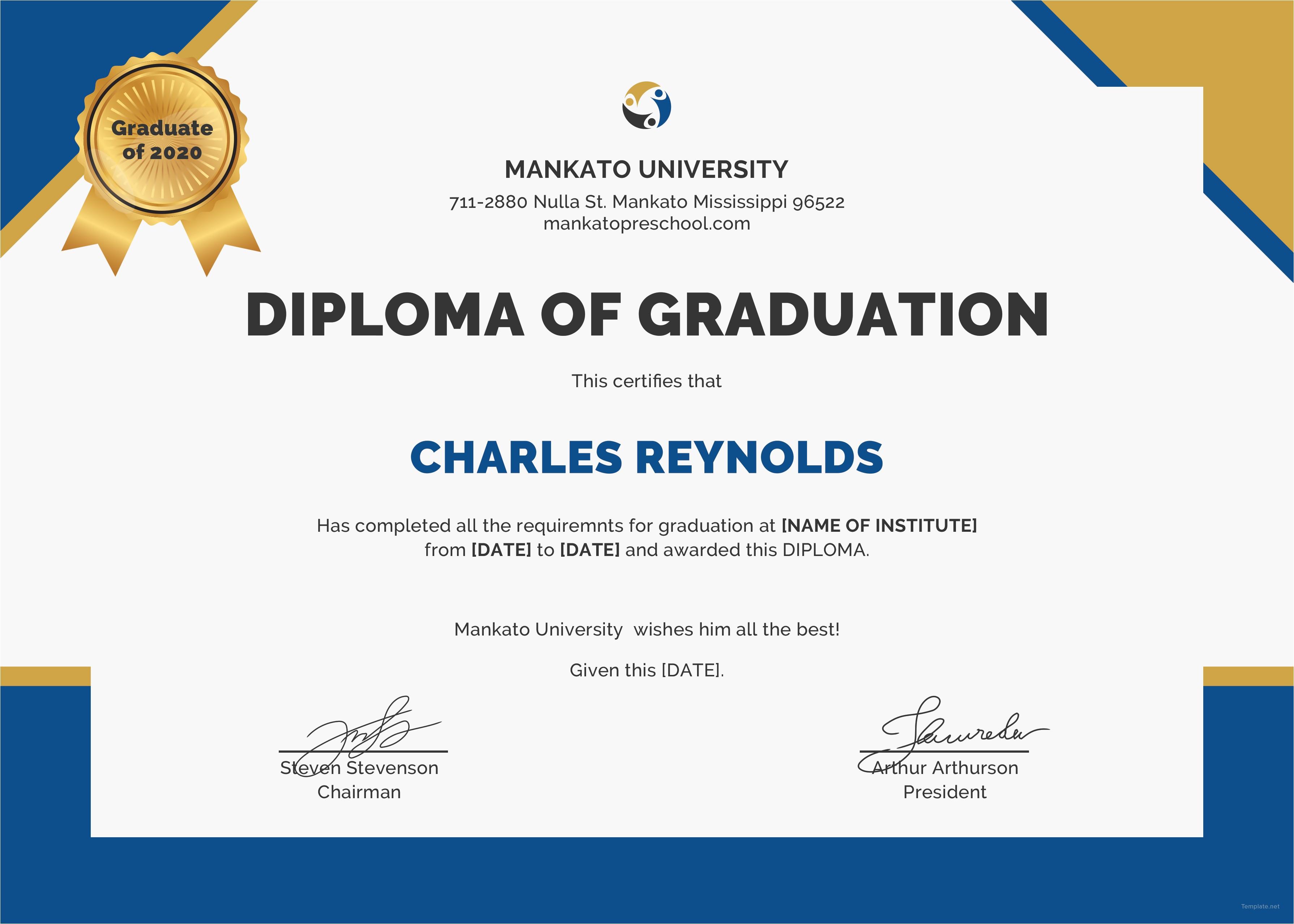 Templates for Graduation Certificates Free Diploma Of Graduation Certificate Template In Psd Ms