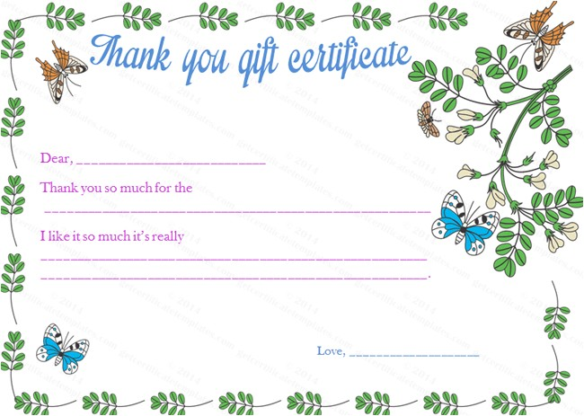 Thank You Gift Certificate Template Flying butterflies Gift Certificate Template