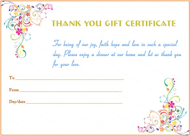 Thank You Gift Certificate Template Gift Certificate Templates