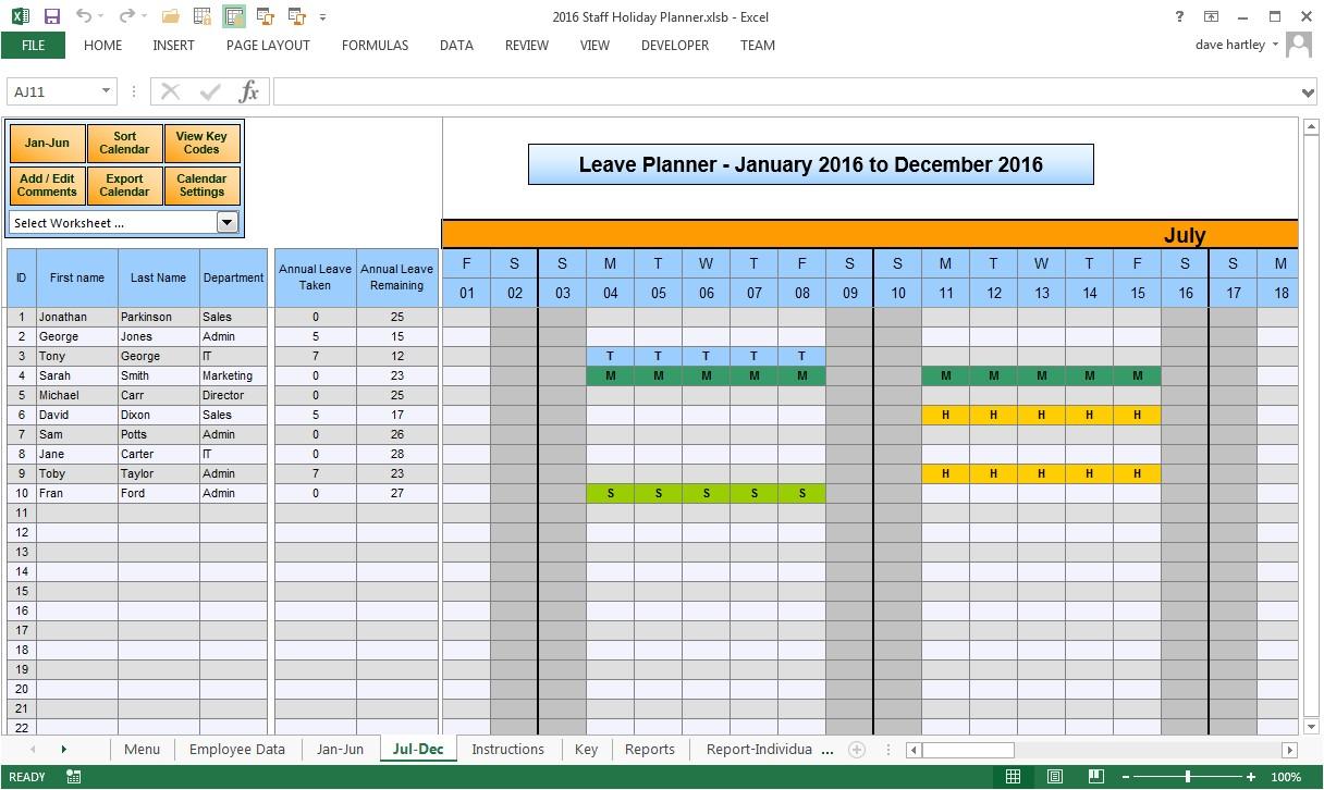employee time off calendar 2016