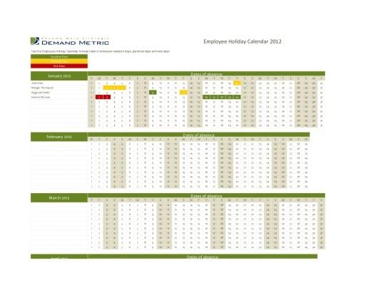 427 employee time off calendar template