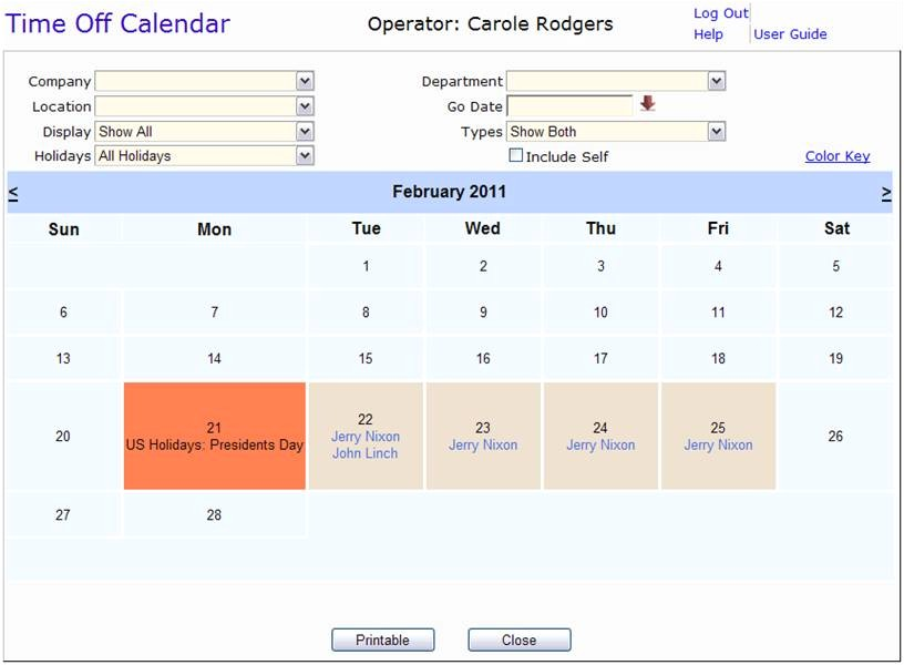 Time Off Calendar Template Time Off Tracking Vacation Tracking software Employee