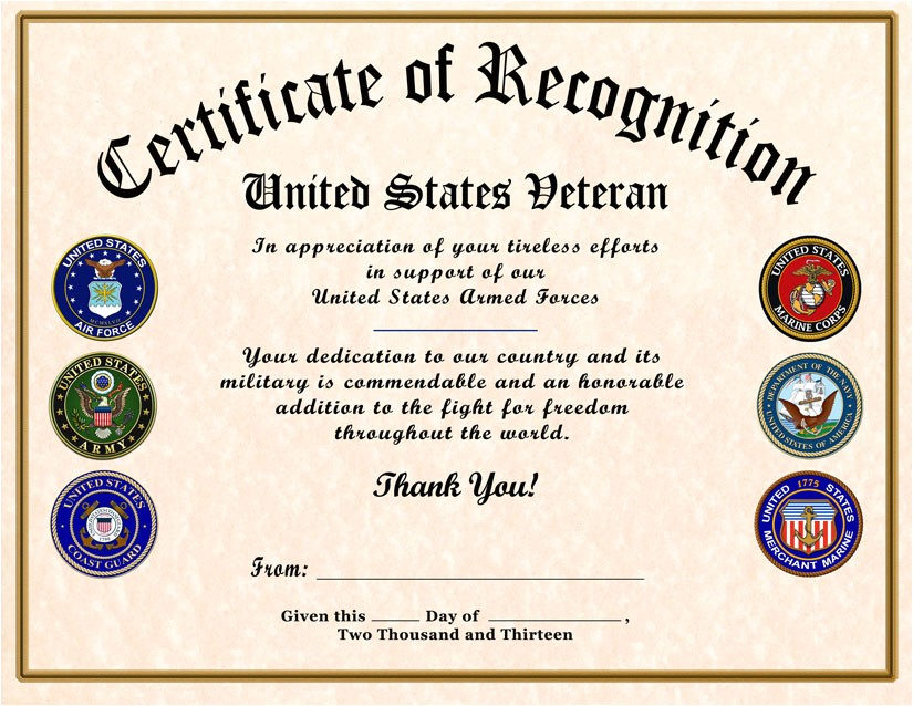 Veterans Appreciation Certificate Template 10 Best Images Of Veterans Certificates Templates