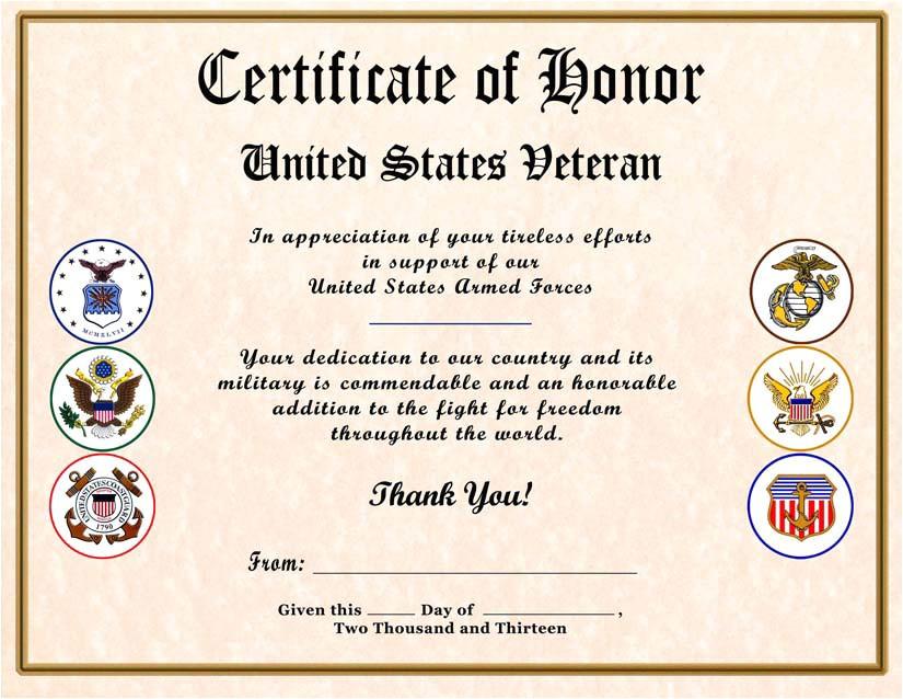 Veterans Appreciation Certificate Template 8 Best Images Of Veterans Certificate Of Appreciation