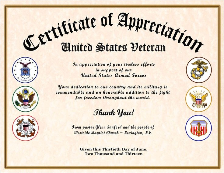 certificate of appreciation veterans