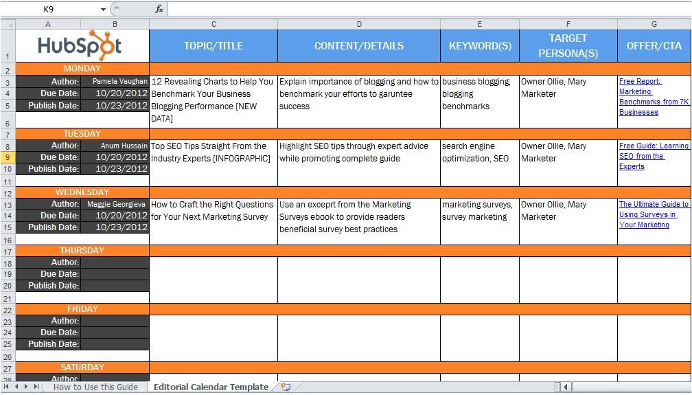 editorial content marketing calendar