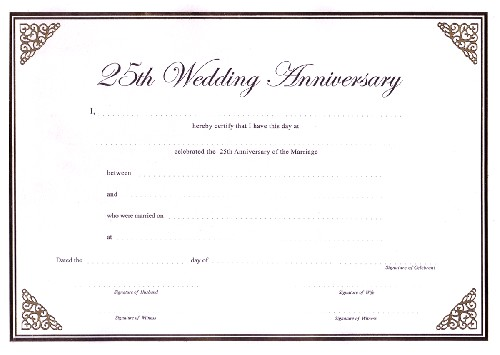 Wedding Anniversary Certificate Template Ccn Certificate Samples