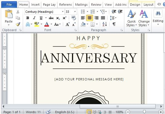 how to create a printable anniversary gift certificate note card