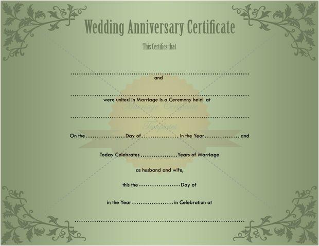 Wedding Anniversary Certificate Template Keepsake Printable Wedding Certificate Template