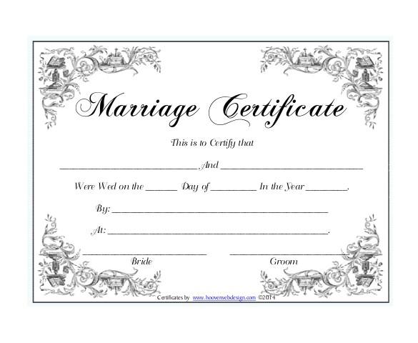 sample wedding certificate