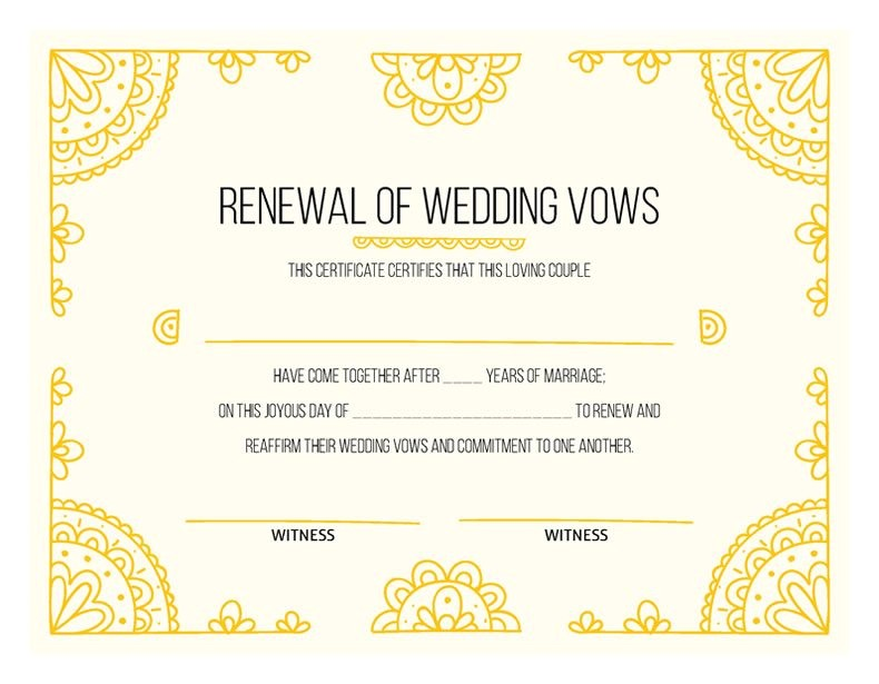 hand drawn gold certificate vow renewal