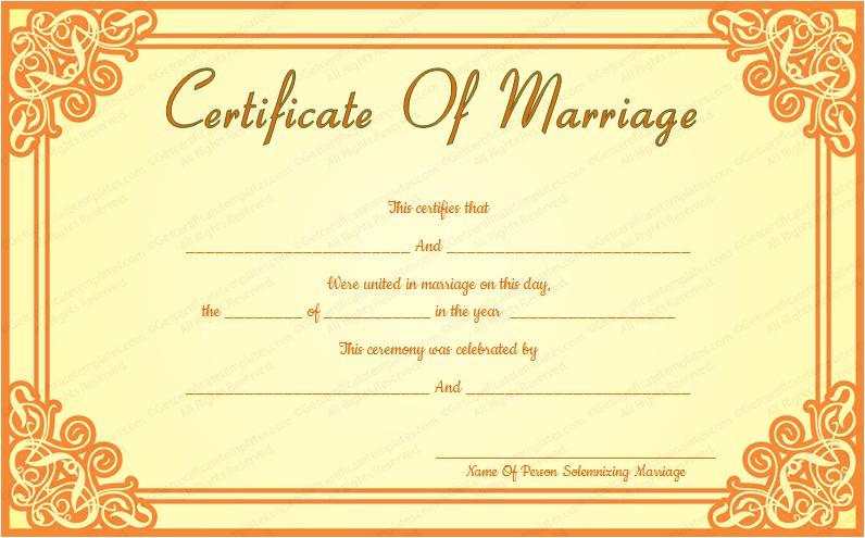 Wedding Ceremony Certificate Template orange Frame Wedding Certificate Template