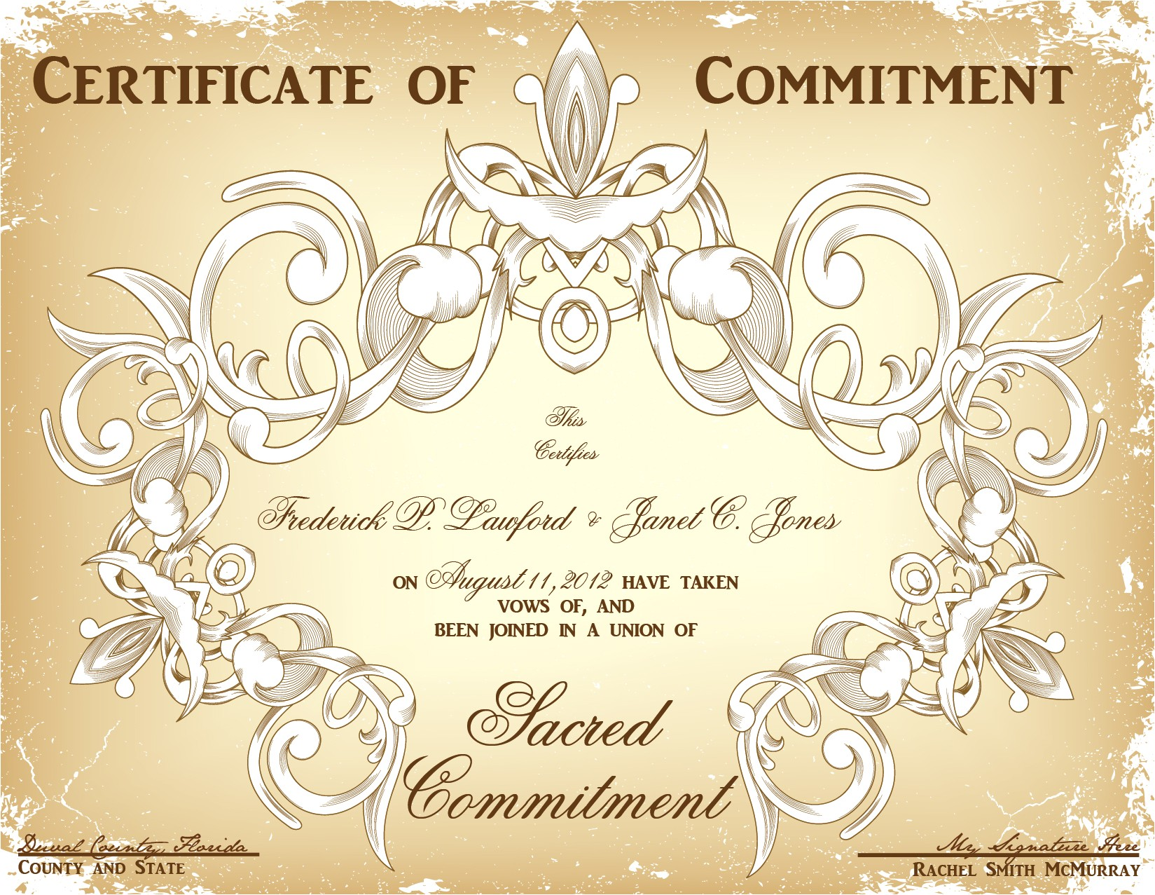 Wedding Ceremony Certificate Template Wedding Planner Marriage Commitment Ceremony