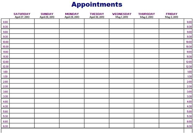 appointment calendar 2016 template