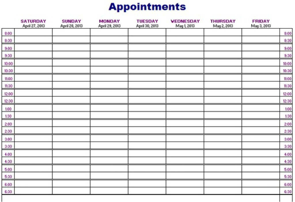 Weekly Appointment Calendar Template Weekly Calendar Appointment Template Calendar