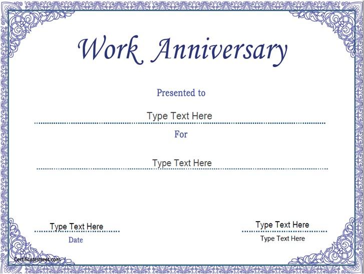 Work Anniversary Certificate Templates Business Certificates Work Anniversary Certificate