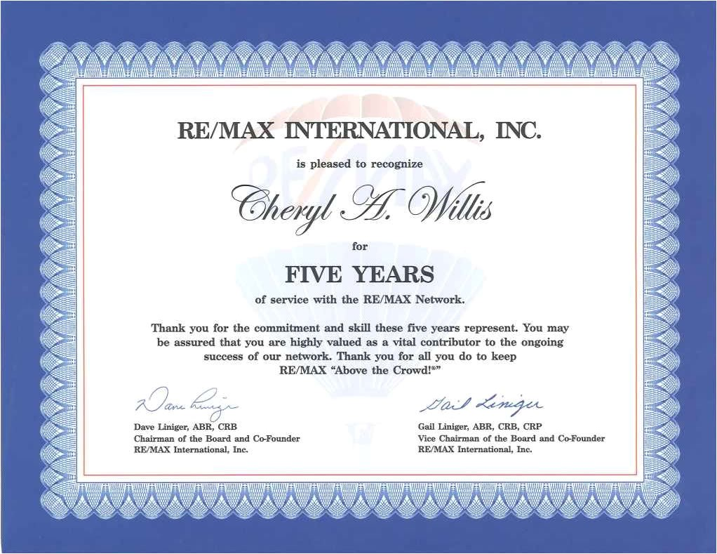 Work Anniversary Certificate Templates Happy Anniversary to Me the Mo Broker Re Max solutions