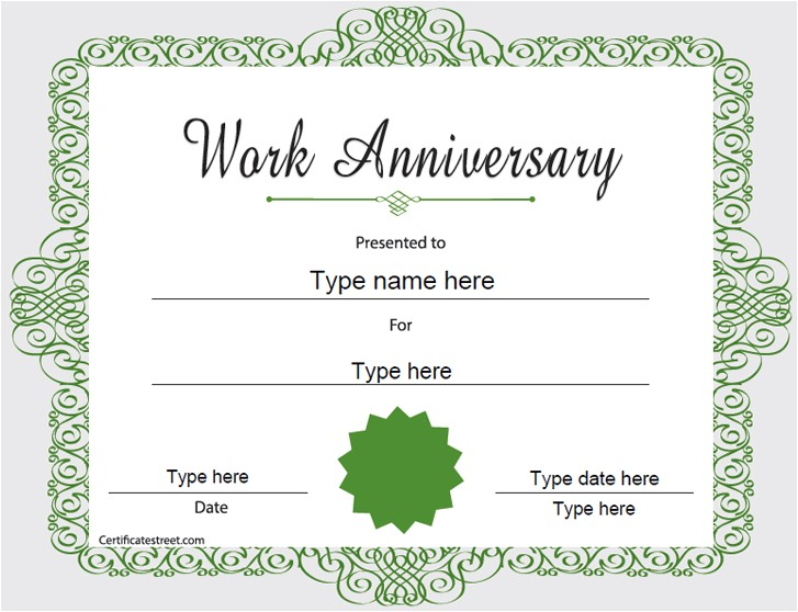 Work Anniversary Certificate Templates Special Certificates Happy Work Anniversary