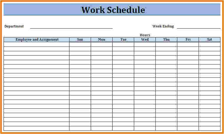 work schedule template weekly schedule template
