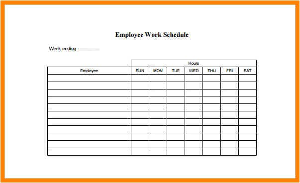 6 example of a work schedule