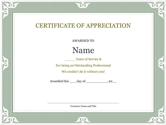 years of service certificate templates