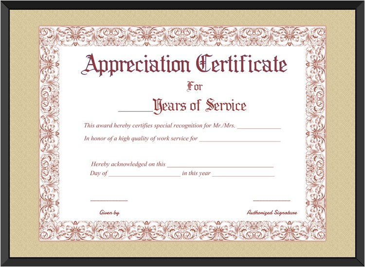 appreciation certificate for years of service template