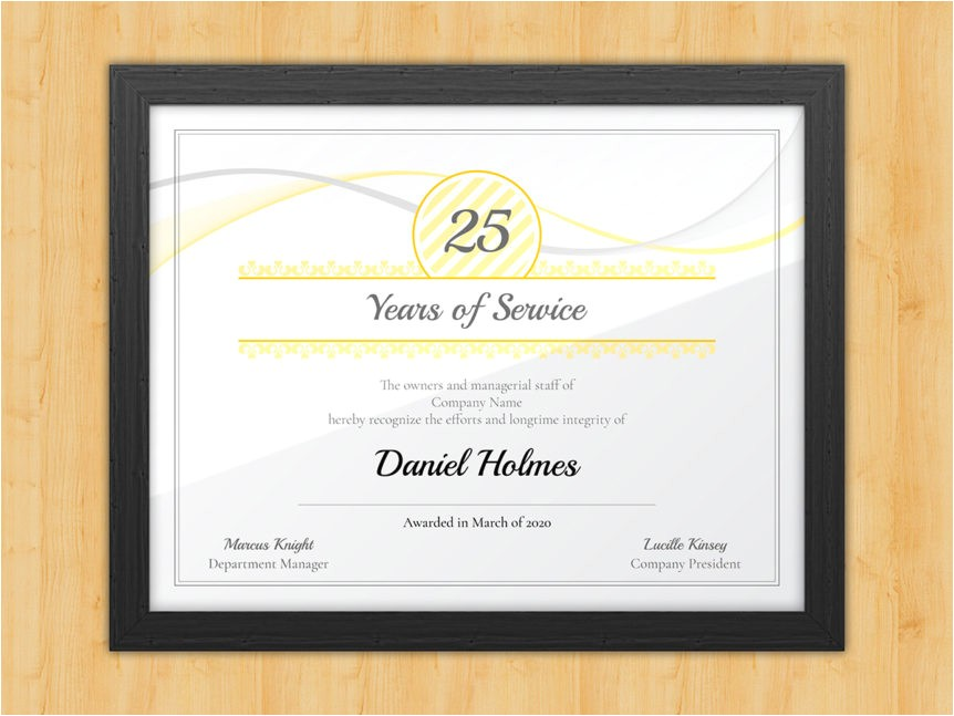 Years Of Service Certificate Template Longevity Years Of Service Certificate Award Avenue