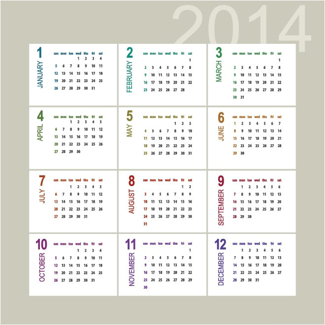 post monthly calendar 2014 vector 35553