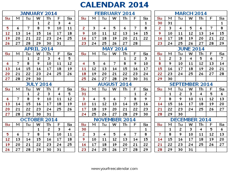 post 2014 printable calendar all months 166211